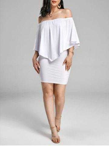 Hot Off The Shoulder Poncho Bodycon Popover Dress - S WHITE Mobile