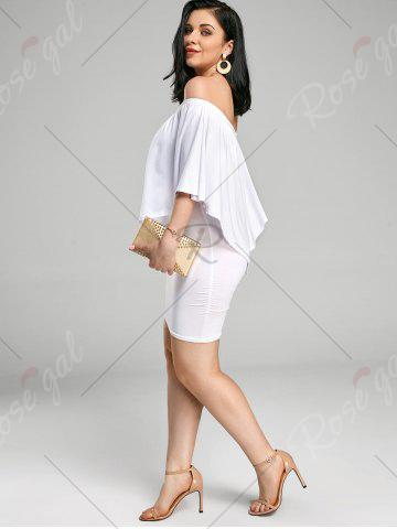 Shops Off The Shoulder Poncho Bodycon Popover Dress - S WHITE Mobile