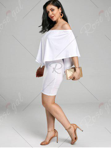 Best Off The Shoulder Poncho Bodycon Popover Dress - S WHITE Mobile