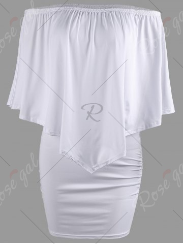 Fancy Off The Shoulder Poncho Bodycon Popover Dress - S WHITE Mobile