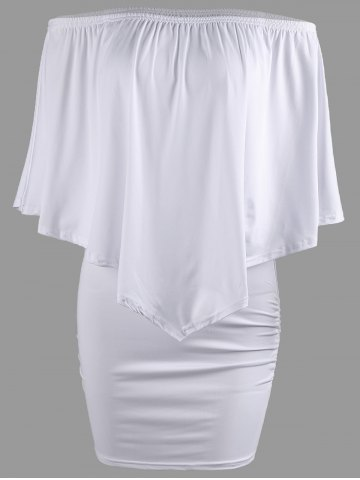 Fancy Off The Shoulder Poncho Bodycon Popover Dress - WHITE XL Mobile