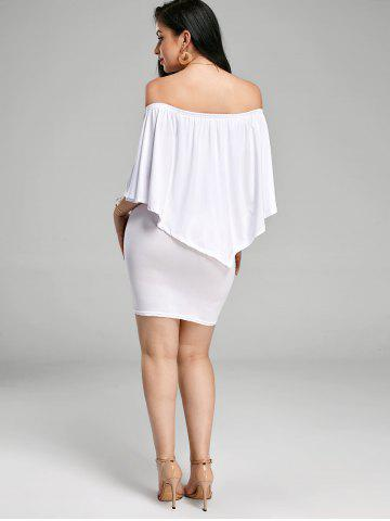 Outfits Off The Shoulder Poncho Bodycon Popover Dress - WHITE XL Mobile