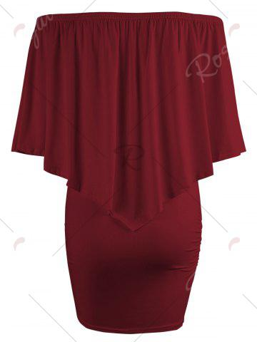 Chic Off The Shoulder Poncho Bodycon Popover Dress - WINE RED L Mobile