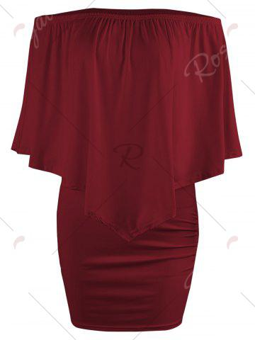 Hot Off The Shoulder Poncho Bodycon Popover Dress - WINE RED L Mobile