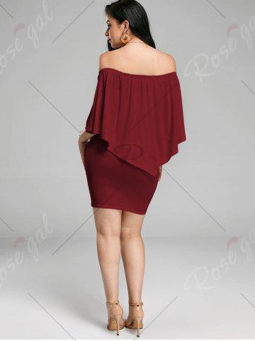 Buy Off The Shoulder Poncho Bodycon Popover Dress - WINE RED L Mobile