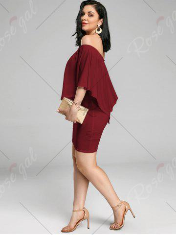 Affordable Off The Shoulder Poncho Bodycon Popover Dress - WINE RED M Mobile