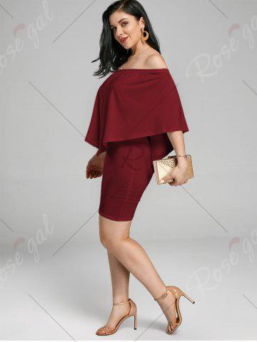 Discount Off The Shoulder Poncho Bodycon Popover Dress - WINE RED M Mobile