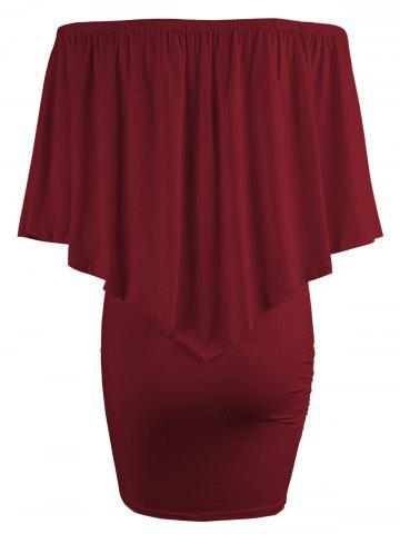 Best Off The Shoulder Poncho Bodycon Popover Dress - WINE RED S Mobile