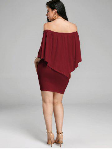 Affordable Off The Shoulder Poncho Bodycon Popover Dress - WINE RED S Mobile