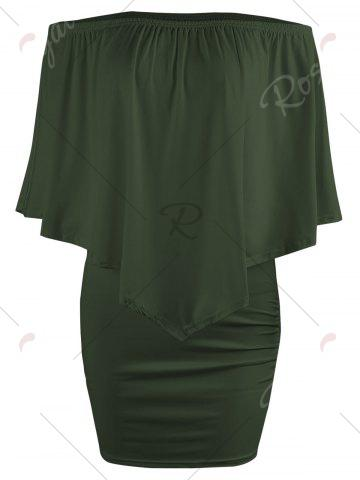 New Off The Shoulder Poncho Bodycon Popover Dress - XL ARMY GREEN Mobile