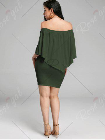 Affordable Off The Shoulder Poncho Bodycon Popover Dress - XL ARMY GREEN Mobile
