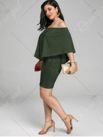 Discount Off The Shoulder Poncho Bodycon Popover Dress - ARMY GREEN L Mobile