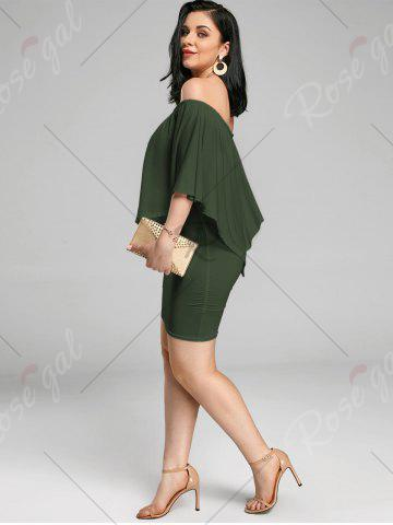 Affordable Off The Shoulder Poncho Bodycon Popover Dress - ARMY GREEN L Mobile