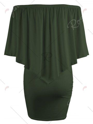 Sale Off The Shoulder Poncho Bodycon Popover Dress - ARMY GREEN M Mobile