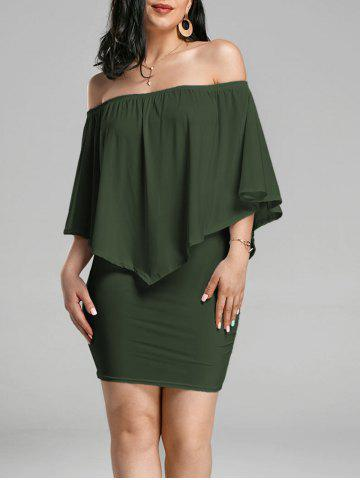 Affordable Off The Shoulder Poncho Bodycon Popover Dress - ARMY GREEN S Mobile