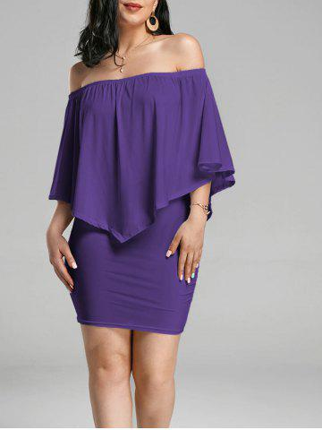 Outfit Off The Shoulder Poncho Bodycon Popover Dress - PURPLE L Mobile