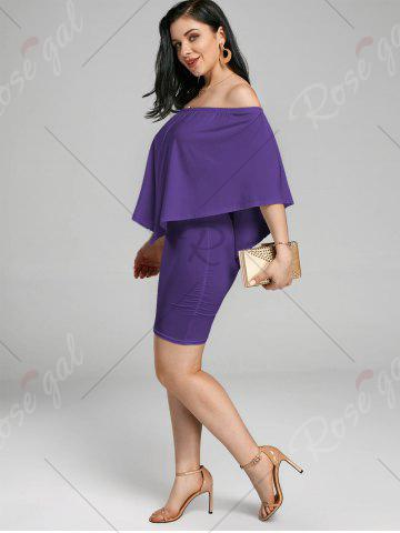 Trendy Off The Shoulder Poncho Bodycon Popover Dress - PURPLE M Mobile