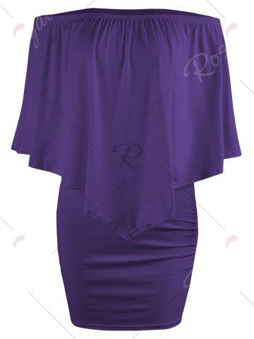Best Off The Shoulder Poncho Bodycon Popover Dress - PURPLE M Mobile