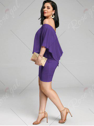Hot Off The Shoulder Poncho Bodycon Popover Dress - PURPLE M Mobile