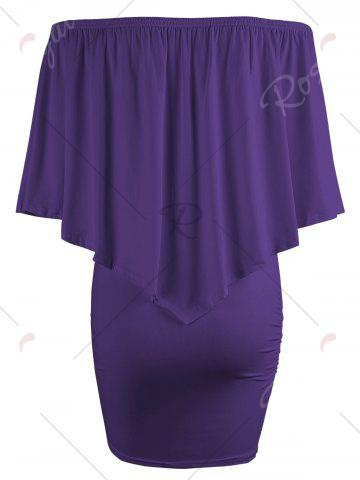 Affordable Off The Shoulder Poncho Bodycon Popover Dress - PURPLE S Mobile