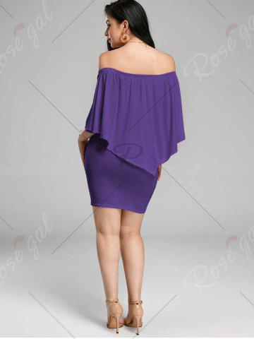 Hot Off The Shoulder Poncho Bodycon Popover Dress - PURPLE S Mobile