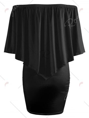 New Off The Shoulder Poncho Bodycon Popover Dress - XL BLACK Mobile