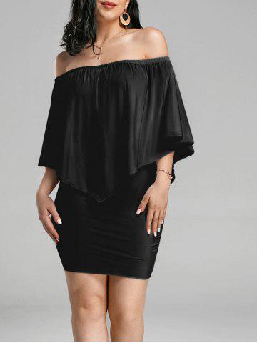 Buy Off The Shoulder Poncho Bodycon Popover Dress - XL BLACK Mobile