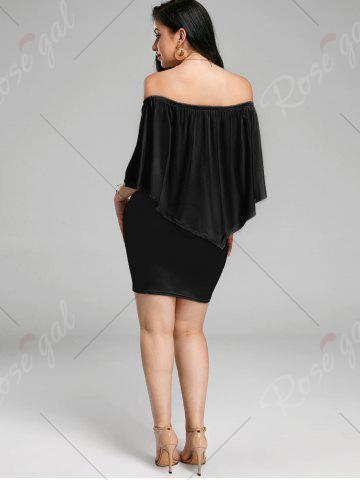 Cheap Off The Shoulder Poncho Bodycon Popover Dress - XL BLACK Mobile