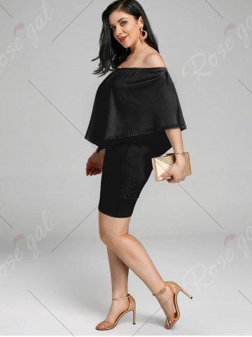 Hot Off The Shoulder Poncho Bodycon Popover Dress - XL BLACK Mobile