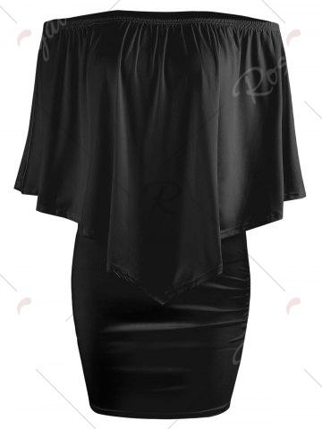 Affordable Off The Shoulder Poncho Bodycon Popover Dress - XL BLACK Mobile