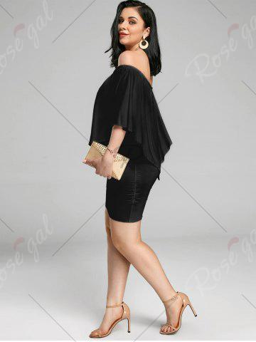 Affordable Off The Shoulder Poncho Bodycon Popover Dress - BLACK M Mobile