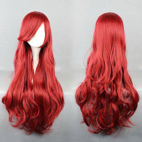 Long Side Bang Layered Wavy Anime Cosplay Synthetic Wig - Red - One Size