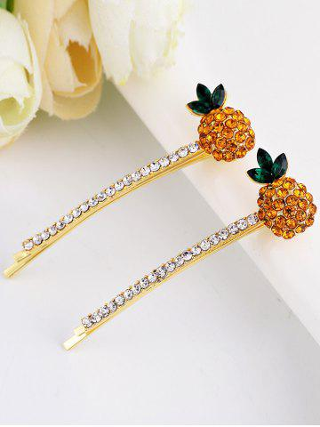 Best 1 Pair Pineapple Shape Rhinestone Inlaid Hair Clip - YELLOW  Mobile