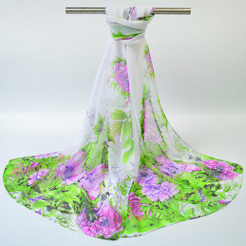 New Hand-painted Flowers Bloom Printing Scarf - WHITE  Mobile