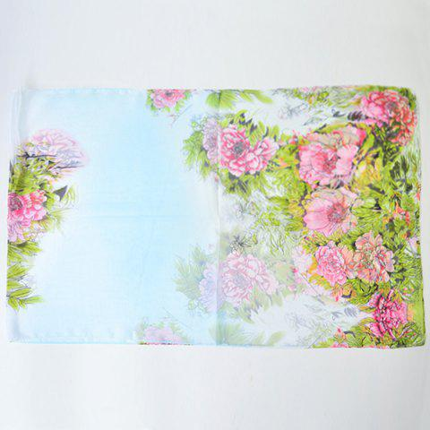 Affordable Hand-painted Flowers Bloom Printing Scarf - BLUE  Mobile