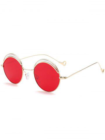 Trendy Hollow Out Leg Round Two-tone Splicing Sunglasses BRIGHT RED
