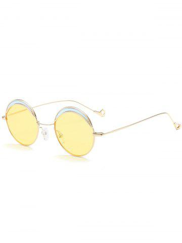Chic Hollow Out Leg Round Two-tone Splicing Sunglasses LIGHT YELLOW
