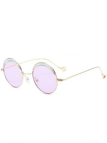 Outfit Hollow Out Leg Round Two-tone Splicing Sunglasses LIGHT PURPLE