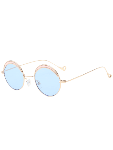 Buy Hollow Out Leg Round Two-tone Splicing Sunglasses - LIGHT BLUE  Mobile