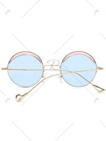 Chic Hollow Out Leg Round Two-tone Splicing Sunglasses - LIGHT BLUE  Mobile