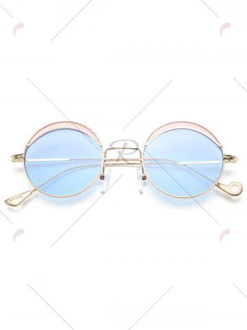 Outfit Hollow Out Leg Round Two-tone Splicing Sunglasses - LIGHT BLUE  Mobile