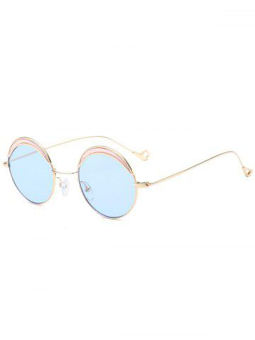 Cheap Hollow Out Leg Round Two-tone Splicing Sunglasses LIGHT BLUE