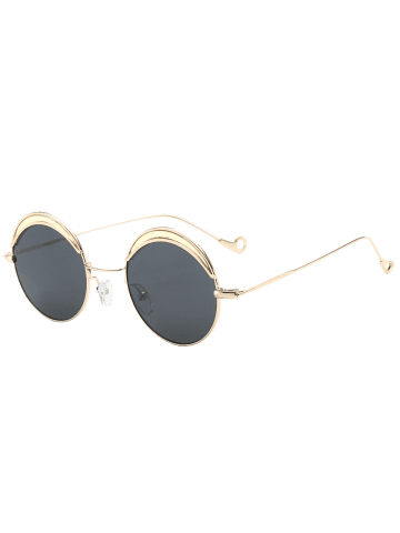 Chic Hollow Out Leg Round Two-tone Splicing Sunglasses - BLACK  Mobile
