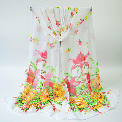 Outfits Chiffon Gossamer Flowering Blossom Printing Scarf - WHITE  Mobile