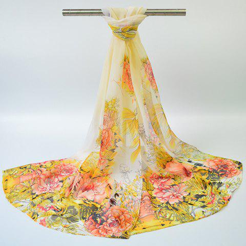 Shops Hand-painted Flowers Bloom Printing Scarf - YELLOW  Mobile