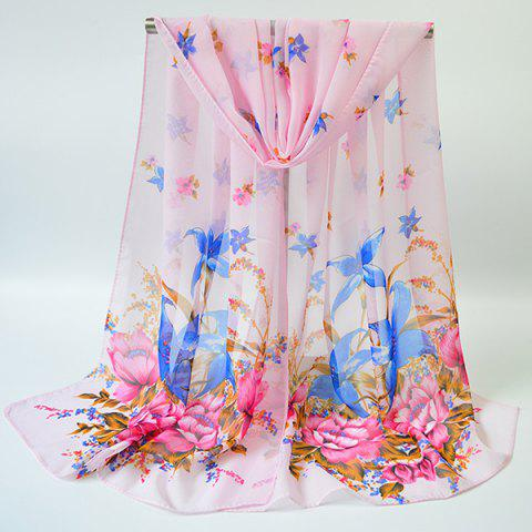 Shops Chiffon Gossamer Flowering Blossom Printing Scarf - PINK  Mobile