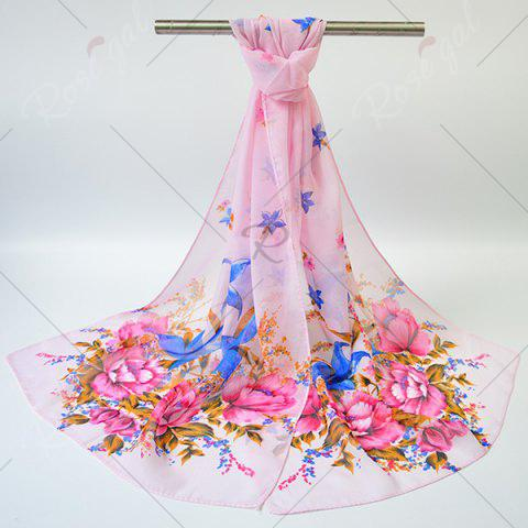 Outfit Chiffon Gossamer Flowering Blossom Printing Scarf - PINK  Mobile