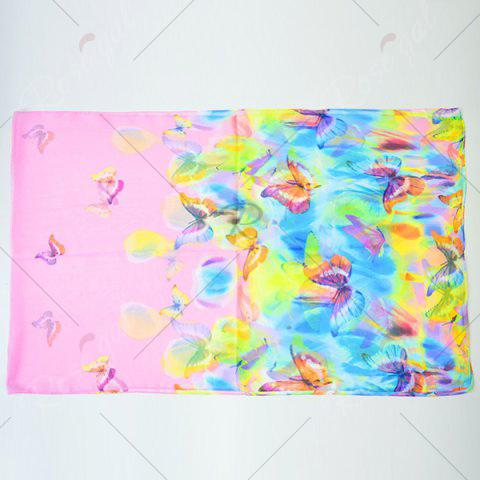 Shops Gossamer Showy Flowers Butterfly Printed Scarf - PINK  Mobile