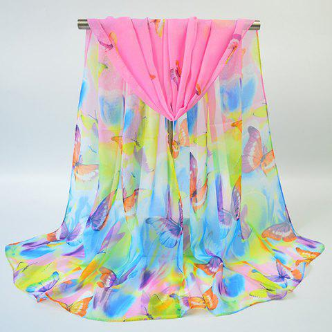 New Gossamer Showy Flowers Butterfly Printed Scarf - PINK  Mobile