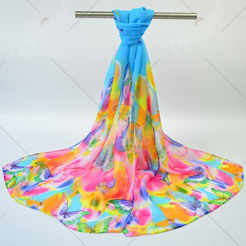 Latest Gossamer Showy Flowers Butterfly Printed Scarf - BLUE  Mobile